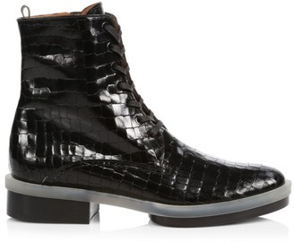 Clergerie Robyn Croc-Embossed Leather Combat Boots
