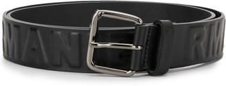 Emporio Armani Logo Debossed Leather Belt