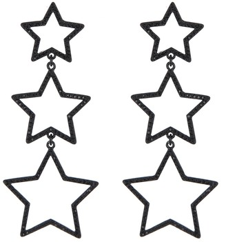 DKNY Black Pave Accent Triple Star Drop Earrings