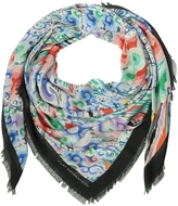 Mary Katrantzou Rainbow Cloud Print Modal & Cashmere Wrap w/Fringes