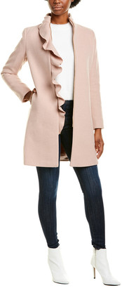 Kensie Medium Ruffle Wool-Blend Coat