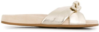 Charlotte Olympia Dylan knotted metallic slides