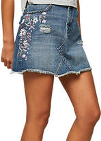 Miss Selfridge Embroidered Denim Skirt, Mid Wash Denim