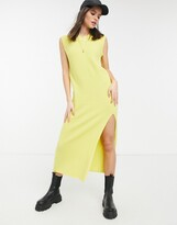 Thumbnail for your product : Lost Ink sleeveless maxi knitted dress in yellow rib