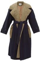 Ganni Two-tone Belted Wool-blend Coat - Womens - Khaki Multi