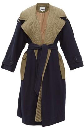 Ganni Belted Bi-colour Wool-blend Coat - Khaki Multi
