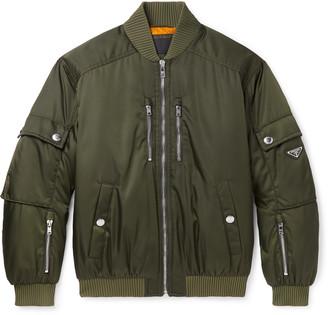 Prada Logo-Appliqued Shell Bomber Jacket