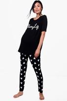 boohoo Maternity Aggie Bump Life Pyjama Set black