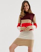 Brave Soul luna block stripe sweater dress