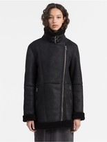 Calvin Klein Shearling Leather Biker Coat