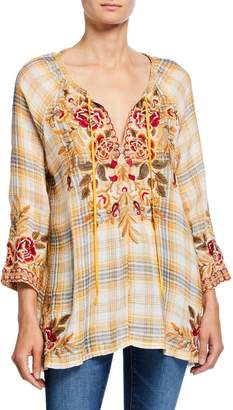 Johnny Was Charlotte Tilos Plaid Tie-Neck Embroidered Peasant Blouse