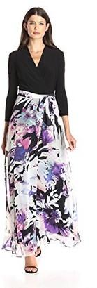 Chetta B Women's 3/4 Sleeve Mixed Media Printed Skirt and sash Belt wrap Maxi Dress