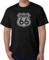 Men's Word Art Route 66 T-Shirt in Black