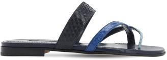Manolo Blahnik 10mm Susaperf Snakeskin Thong Sandals
