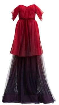Marchesa Women's Off-The-Shoulder Ombré Tulle Gown - Red - Size 4