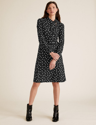 Marks and Spencer Jersey Polka Dot Tie Neck Skater Dress