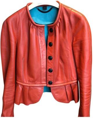 Burberry Orange Leather Jacket for Women
