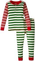 Hatley Holiday Stripe Henley Pajama (Toddler/Kid) - Green - 7