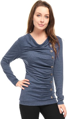 Allegra K Women's Cowl Neck Long Sleeves Buttons Decor Ruched Top Dark Gray 16