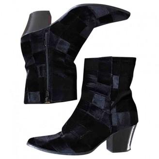Miista Navy Velvet Ankle boots