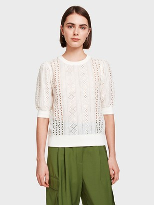 White + Warren Cotton Terry Lace Mix Top