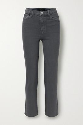 J Brand Jules Distressed High-rise Straight-leg Jeans - Dark gray