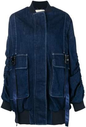 Fendi oversized denim bomber jacket