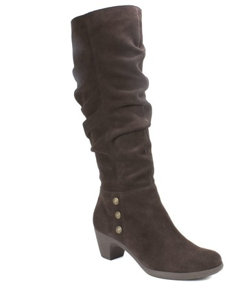 Cliffs By White Mountain Cliffs Tall Leather Ruched Shaft Boots - Averie