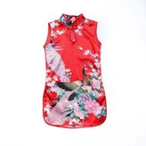 Generic Kids Girls Classic Floral Peacock Chinese Cheong-sam Qipao Dress ( colors 6 size)