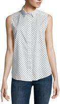Liz Claiborne Sleeveless Polka Dot Shirt - Tall