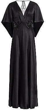 Alberta Ferretti Women's Emellished Silk Flutter-Sleeve Gown
