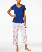 Charter Club V-Neck Top and Printed Cropped Pants Mix-It Pajama Set, Created for Macy's