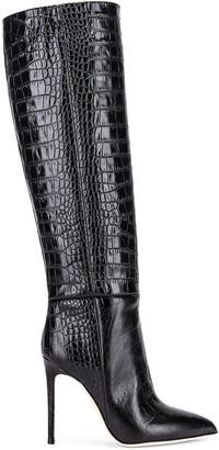 Paris Texas Moc Croco Tall Stiletto Boot in Black | FWRD