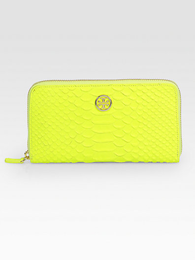 Tory Burch Snake-Embossed Leather Zip-Around Wallet