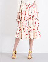 Gucci GucciGhost pleated silk-satin midi skirt