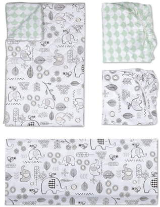 Living Textiles Elle Elephant 4-Piece Crib Bedding Set