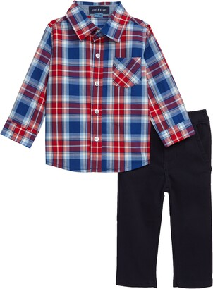 Andy & Evan Plaid Shirt & Pants Set