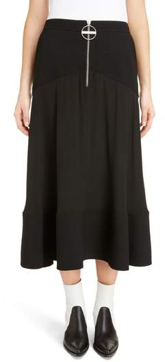 Givenchy Zip Front Crepe de Chine Midi Skirt
