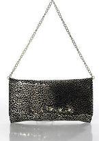 Betsey Johnson Black Gold Leather Sheer Magnetic Closure Crossbody Handbag