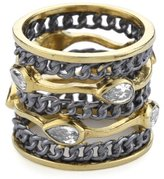 "Melinda Maria Oxidized Link Collection"" Link Ring with White Color Size 7"