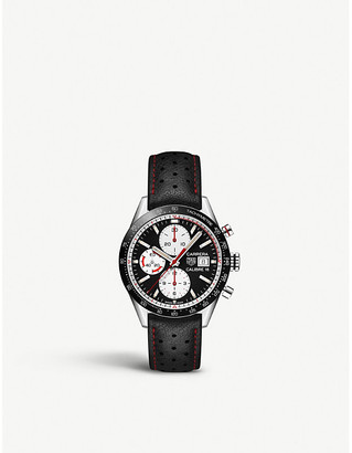 Tag Heuer Carrera Calibre 16 vintage steel and leather chronograph watch