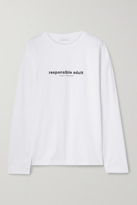 Ninety Percent Oversized Embroidered Organic Cotton-jersey T-shirt - White