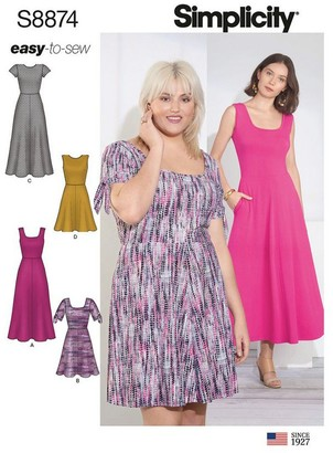 Simplicity Misses'/Women's Easy To Sew Knit Dress Sewing Pattern, 8874