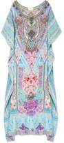 Camilla Rio Embellished Printed Silk Crepe De Chine Kaftan - Blue