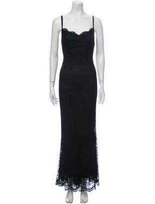 Dolce & Gabbana V-Neck Long Dress Black