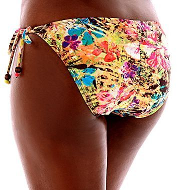 JCPenney Bisou Bisou® Tropical Print Shirred Hipster Swim Bottoms