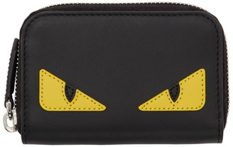 Fendi Black Small Bag Bugs Zip Around Wallet