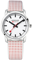 Mondaine A400.30351.11sba Unisex Simply Elegant Leather Strap Watch, White/red