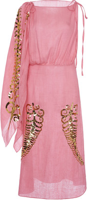 Prada Sequin-Embellished Silk-Georgette Midi Dress