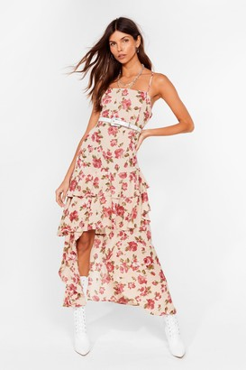 Nasty Gal Womens Waterfall-en For You Floral Halter Dress - Stone